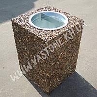 Урна для мусора «Куб» уличная бетонная Галька коричневая
