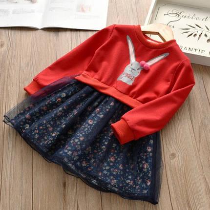 Нарядное детское платье на девочку  на длинный рукав красное, фото 2