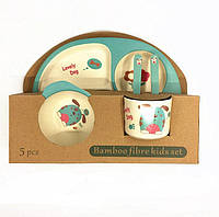 Набір дитячого посуду з бамбукового волокна 5 предметів, дитяча бамбукова посуд, дитячий еко посуд