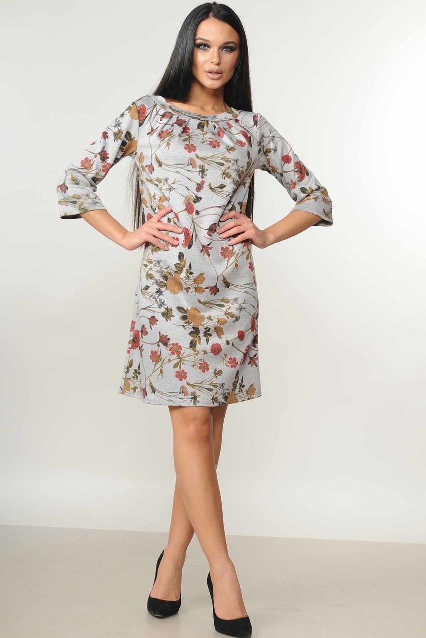 d68893e0e76 Платье свободного кроя расклешенное к низу с модным принтом 42-52 размер  серое цветы -