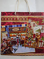 Новогодний пакет подарочный бумажный квадрат 23х24х10 (24-145)
