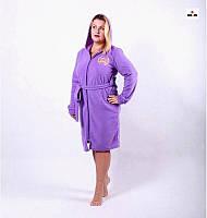 Махровий жіночий халат з капюшоном р. 44-54, фото 1