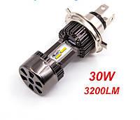 Мотолампа H4|30W|12-24V|5000K| Ближній|Дальній|2500 Лм