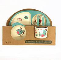 Набор детской посуды из бамбукового волокна 5 предметов, детская бамбуковая посуда, эко-посуда
