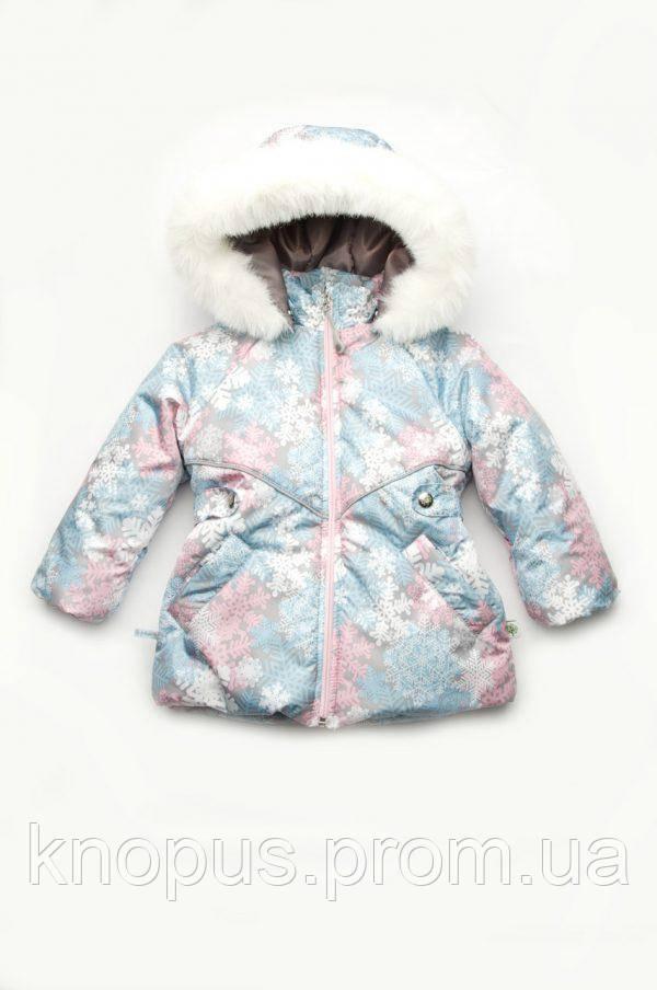 Куртка зимняя для девочки 'Снежинкаk', размеры 86-104, Модный карапуз