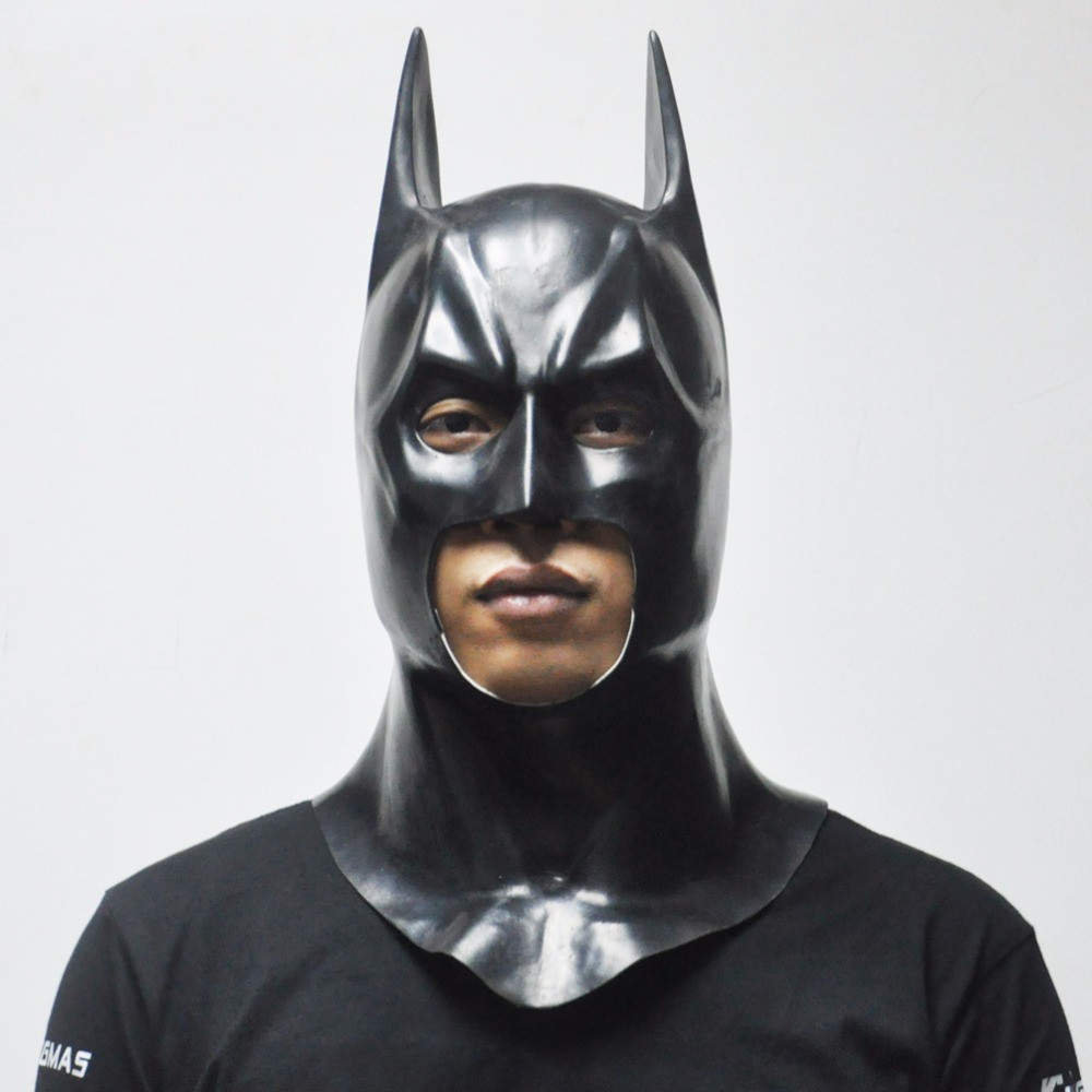 Маска Бетмен (Бэтмен) взрослая латекс, резиновый шлем batmen
