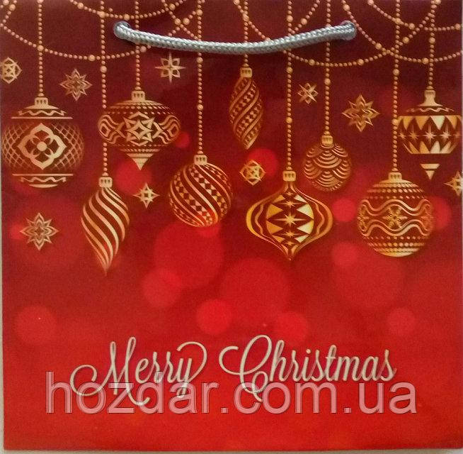 Новогодний пакет подарочный бумажный гигант широкое дно 30х40х17 (39-016)