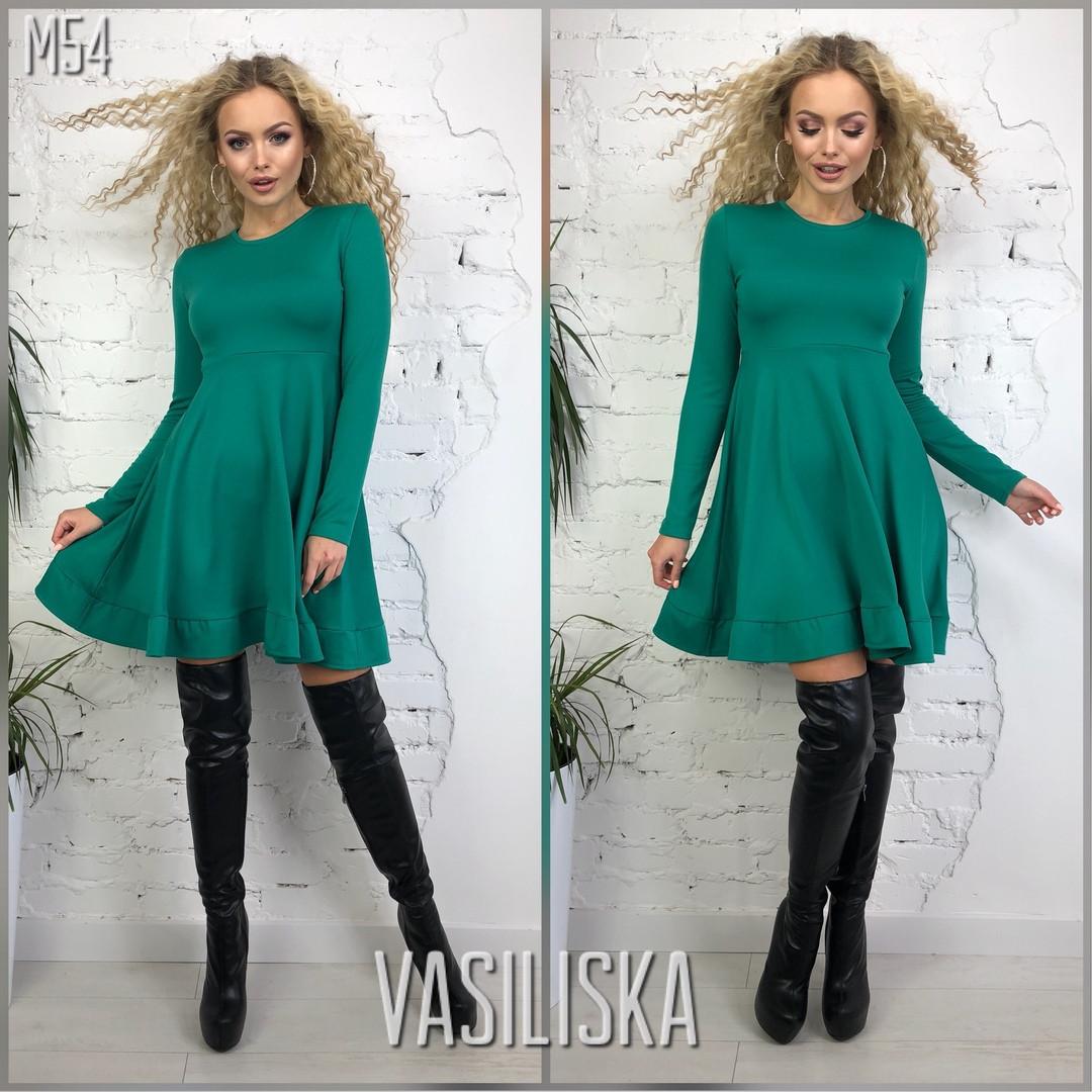 dd1b853534f Трикотажное короткое платье с оборкой зелёное — купить недорого в ...
