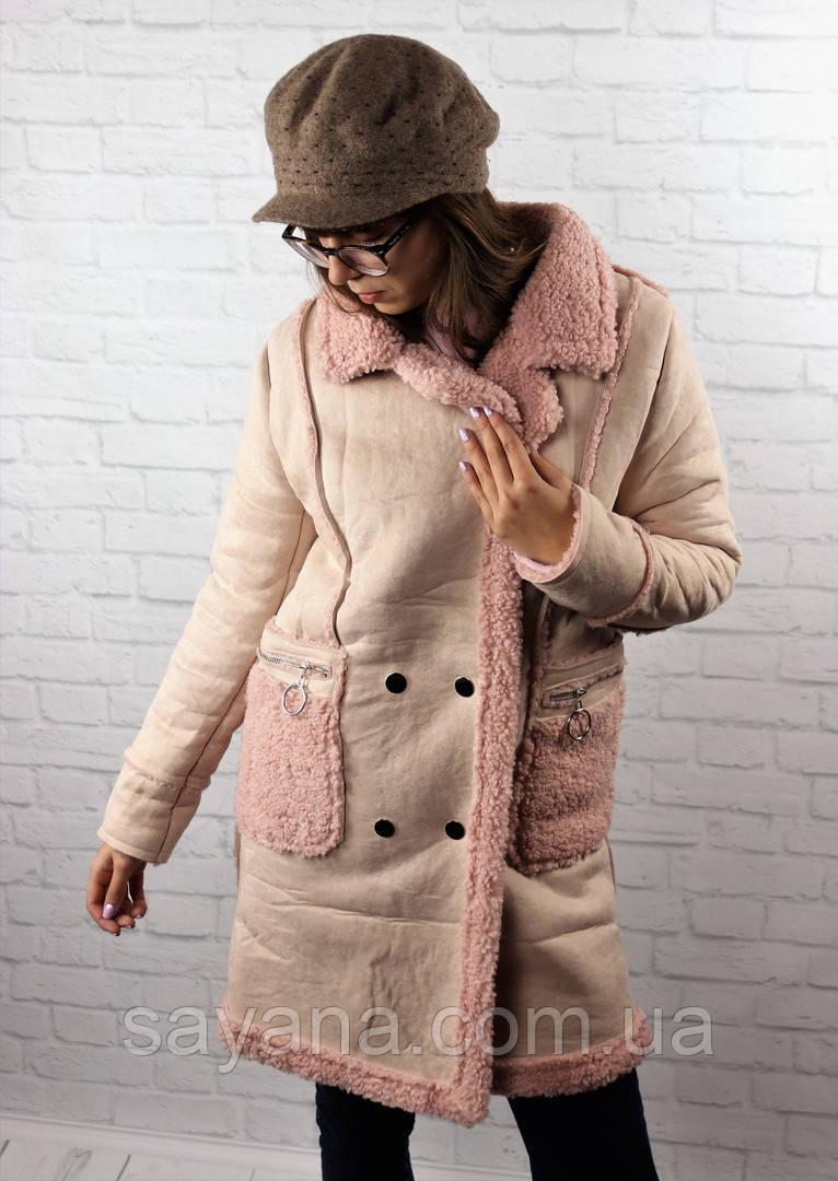Женская дубленка с карманами в расцветках. БР-9-1118