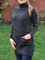 Туника женская, свитер, вязка с хомутом