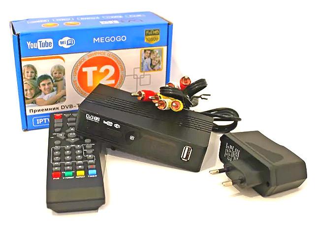 Тюнер T2 приставка с просмотром YouTube IPTV WiFi HDMI USB 12В и 220В MEGOGO