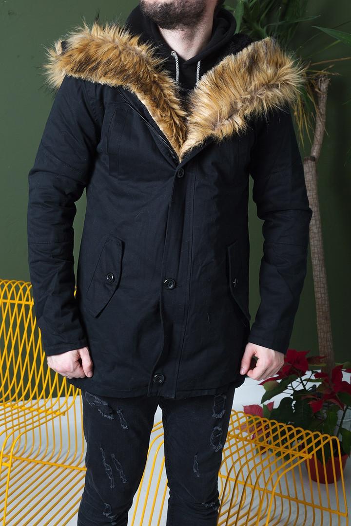 Мужская черная зимняя парка, мужская классическая зимняя парка, парка с меховым капюшоном
