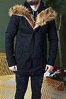 Мужская черная зимняя парка, мужская классическая зимняя парка, парка с меховым капюшоном, фото 1