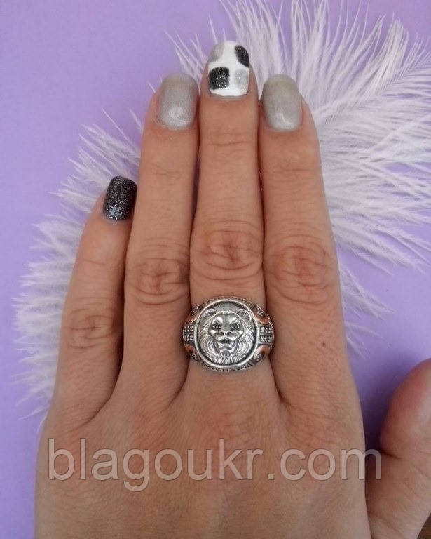 Мужское кольцо серебро с золотом Лео