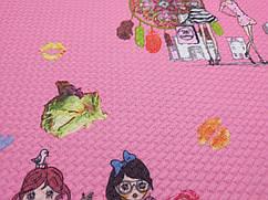Трикотаж попкорн ловец снов, розовый
