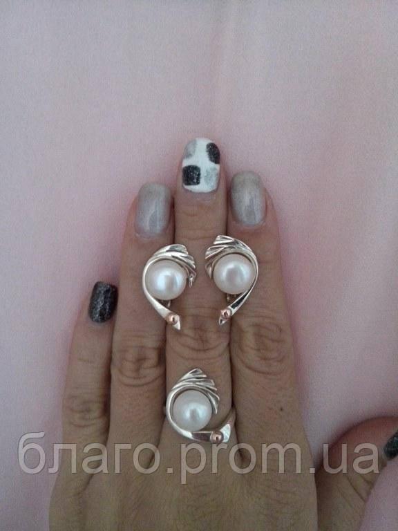 Серебряные Серьги с жемчугом Аэлита