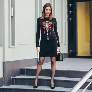 Черное украинское вязаное платье Стася с орнаментом