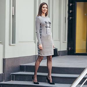 Вязаное платье Стася капучино с украинским орнаментом