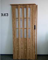 Двери гармошка полуостеклённые вяз  86х203, Более 20 цветов. Межкомнатные двери гармошка. Доставка.