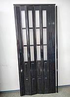 Двери гармошка полуостеклённые черное дерево  86х203, Более 20 цветов. Межкомнатные двери гармошка. Доставка.