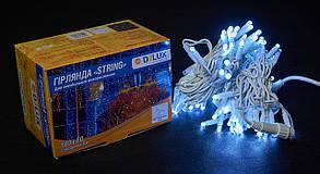 Гирлянда DELUX STRING 100LED/flash 10м внешняя белая кабель черный\белый