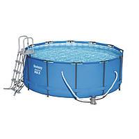 Каркасный бассейн Bestway 56438 Ø 457 х 122 см, фильтр насос, лестница, тент, фото 1