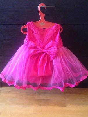 Платье нарядное детское  на девочку с бантом малиновое 1-6 лет, фото 2
