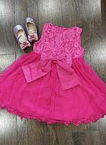 Платье нарядное детское  на девочку с бантом малиновое 1-6 лет, фото 3