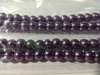 Бусы под жемчуг, бусины 8 мм керамические перламутровые, нить ок. 54 шт. Фиолетовые