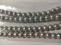 Бусы под жемчуг, бусины 8 мм керамические перламутровые, нить ок. 54 шт. Светло-серые (серебристые)