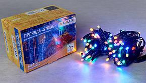 Гирлянда DELUX STRING 100LED/flash 10м внешняя  мультиколор кабель черный\белый