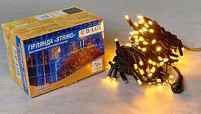 Гирлянда DELUX STRING 100LED 10м внешняя   желтая кабель черный\белый