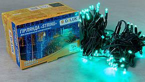 Гирлянда DELUX STRING 100LED 10м внешняя   зеленая  кабель черный\белый
