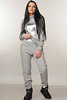 Теплые трикотажные брюки Ромб свободного силуэта зауженные к низу на флисе 42-52 размеры серые, фото 1