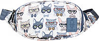 Поясная сумка бананка Bagland Bella сублимация коты в очках