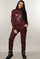 Теплые трикотажные брюки Ромб свободного силуэта зауженные к низу на флисе 42-52 размеры бордовые, фото 1