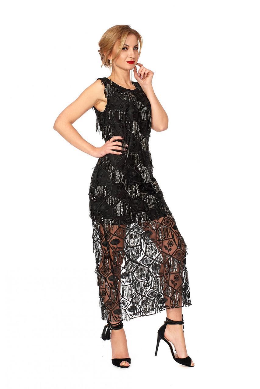 Элегантное женское платье из пайеток черное