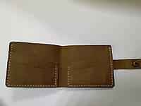 Оливковый классический кожаный кошелёк (портмоне) на подарок