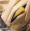 Рюкзак женский кожзам цветы flower Коричневый, фото 5