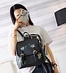 Рюкзак женский кожзам цветы flower Черный, фото 2