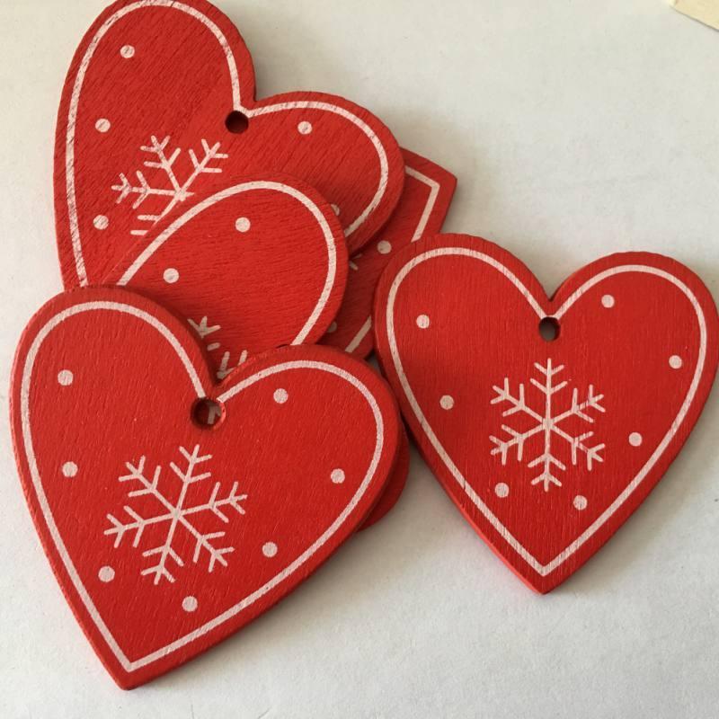 """Рождественские деревянные игрушки - украшения """"Сердце красное"""" снежинка"""