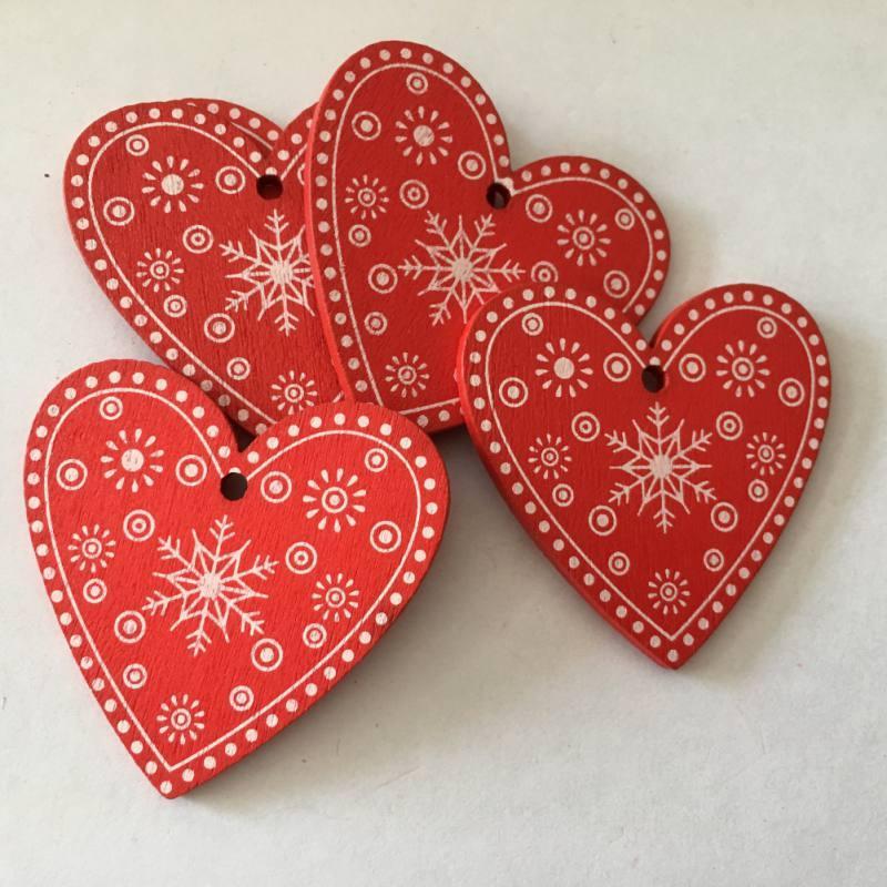 """Рождественские деревянные игрушки - украшения """"Сердце красное"""" орнамент"""