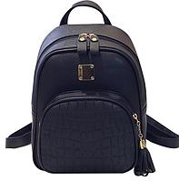 Рюкзак женский кожзам Crocodile print с кисточкой Черный