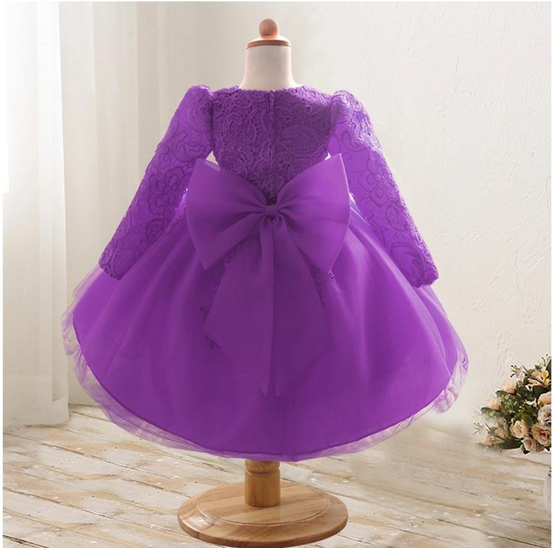 Платье нарядное детское  кружевное с бантом фиолетовое 9мес-1 год