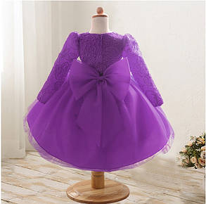 Платье нарядное детское  кружевное с бантом фиолетовое 9мес-1 год, фото 2