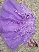 Платье нарядное детское  кружевное с бантом фиолетовое 9мес-1 год, фото 3