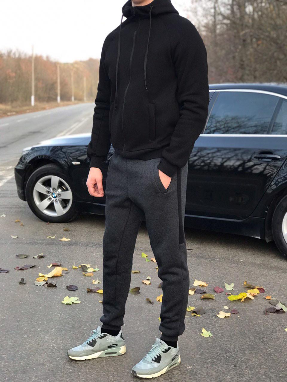 24d3f517 Утепленный мужской спортивный костюм, на байке, черно-ссерого цвета от  производителя