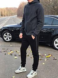 Утепленный мужской спортивный костюм, на байке, черно-ссерого цвета от производителя