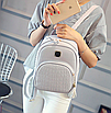Рюкзак женский кожзам Crocodile print с кисточкой Серый, фото 2