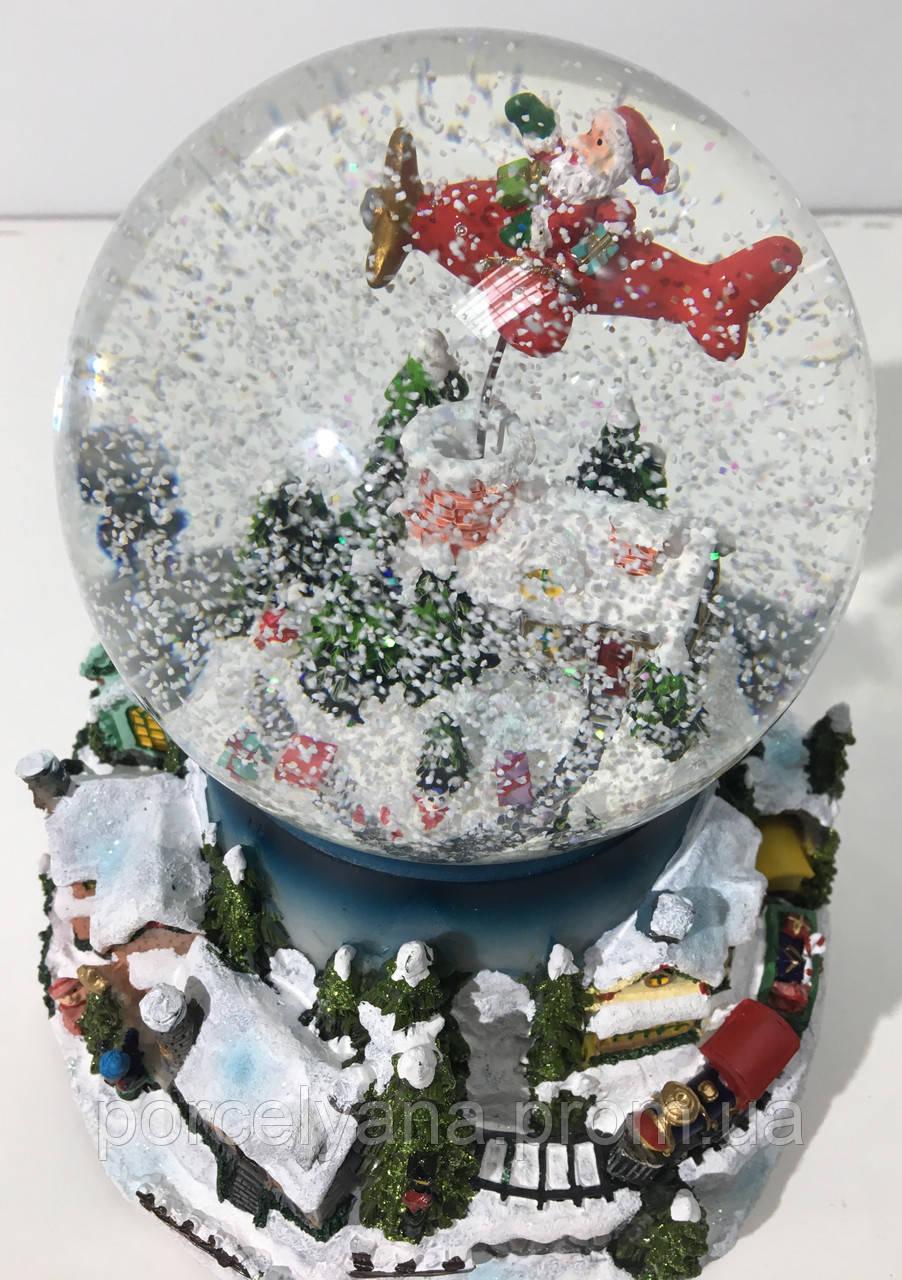 Снежный шар 20 см Санта на самолете (видео)